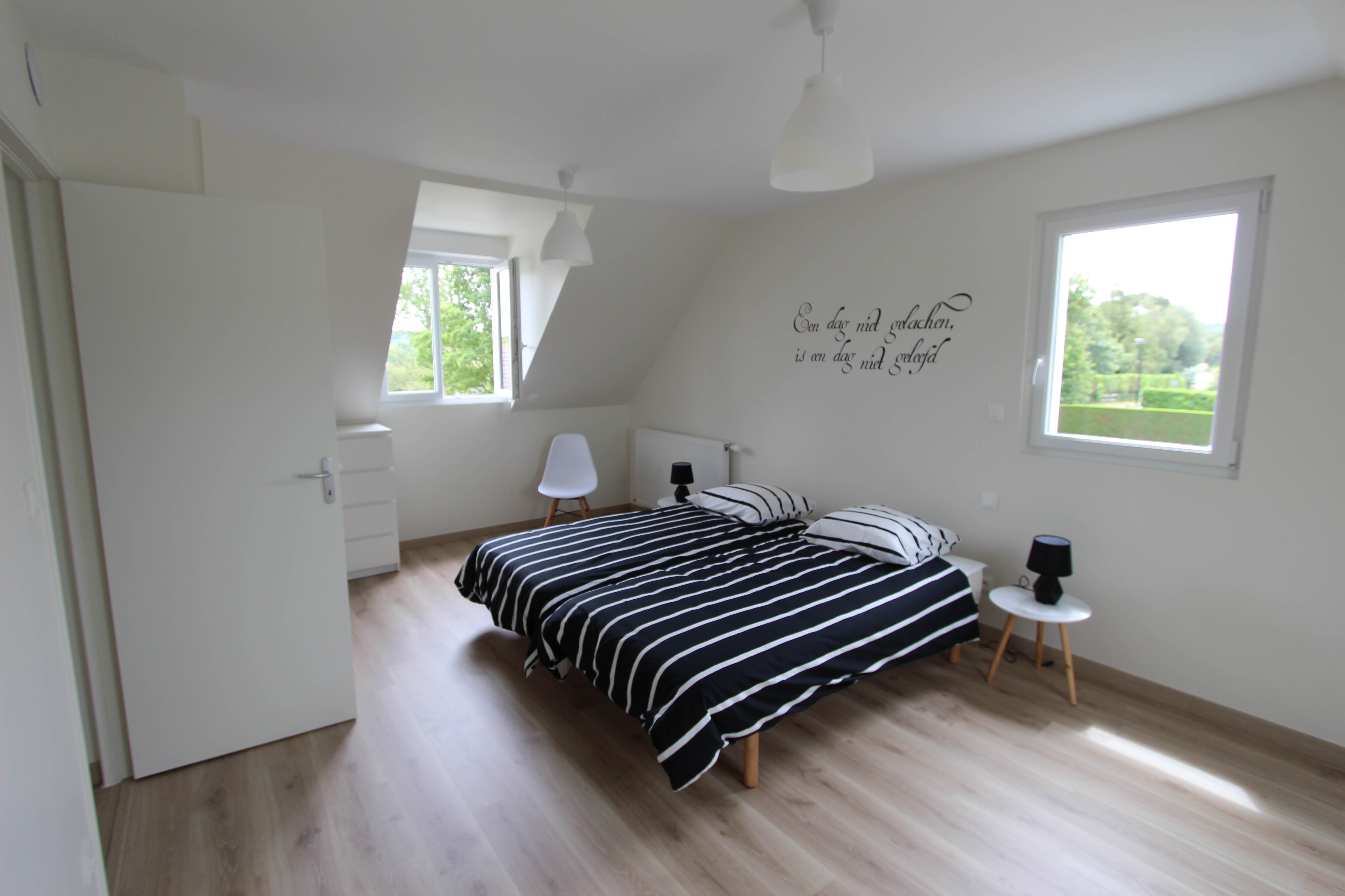 chambre double étage de la villa rubis location gîte varengeville-sur-mer pourville-sur-mer